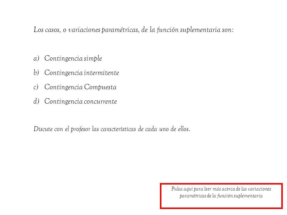 Los casos, o variaciones paramétricas, de la función suplementaria son: a)Contingencia simple b)Contingencia intermitente c)Contingencia Compuesta d)C