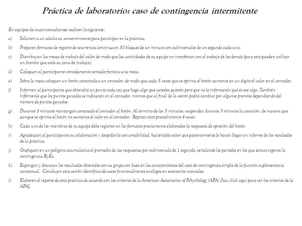 Práctica de laboratorio: caso de contingencia intermitente En equipos de cuatro estudiantes realicen lo siguiente: a)Soliciten a un adulto su consenti