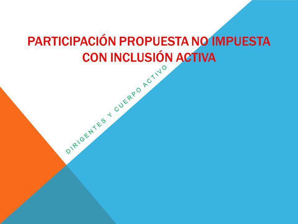 PARTICIPACIÓN PROPUESTA NO IMPUESTA CON INCLUSIÓN ACTIVA DIRIGENTES Y CUERPO ACTIVO