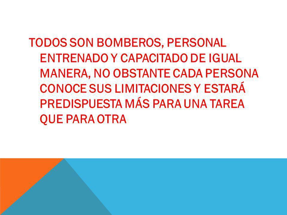 TODOS SON BOMBEROS, PERSONAL ENTRENADO Y CAPACITADO DE IGUAL MANERA, NO OBSTANTE CADA PERSONA CONOCE SUS LIMITACIONES Y ESTARÁ PREDISPUESTA MÁS PARA U