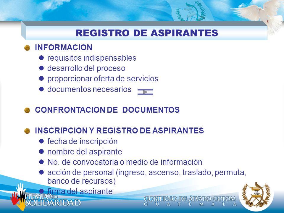 REGISTRO DE ASPIRANTES INFORMACION requisitos indispensables desarrollo del proceso proporcionar oferta de servicios documentos necesarios CONFRONTACI
