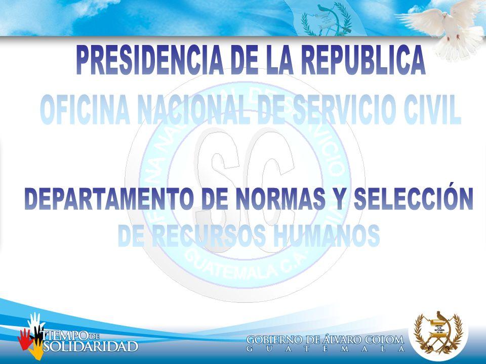 OBJETIVOS Dotar a la Administración Pública de recurso humano calificado, para el desempeño efectivo de los puestos del servicio por oposición, atendiendo a méritos de capacidad, preparación, eficiencia y honradez.