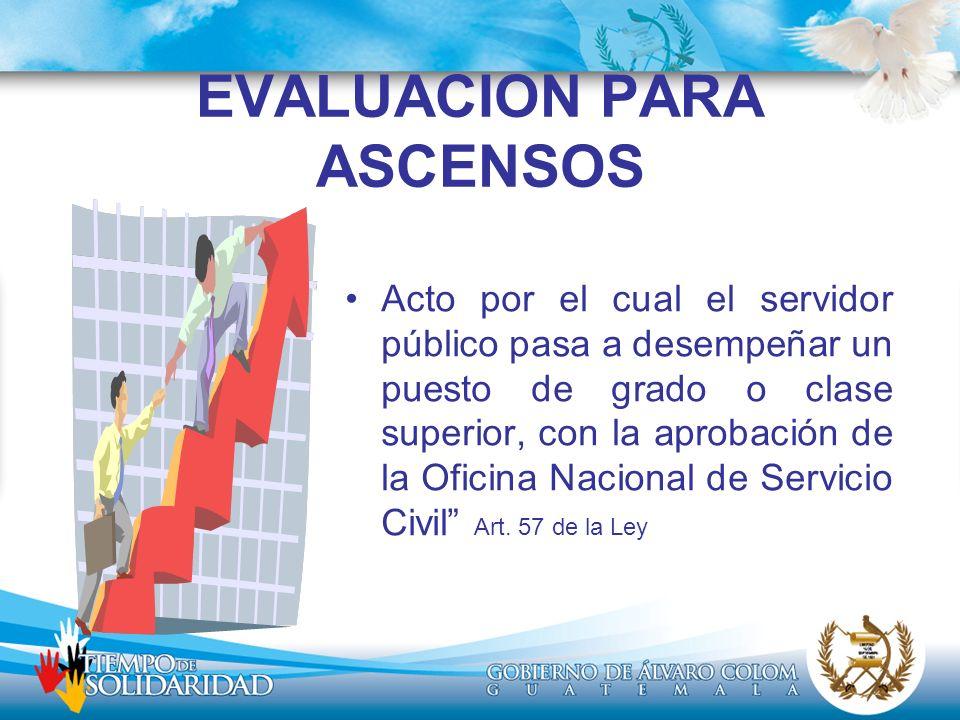 EVALUACION PARA ASCENSOS Acto por el cual el servidor público pasa a desempeñar un puesto de grado o clase superior, con la aprobación de la Oficina N
