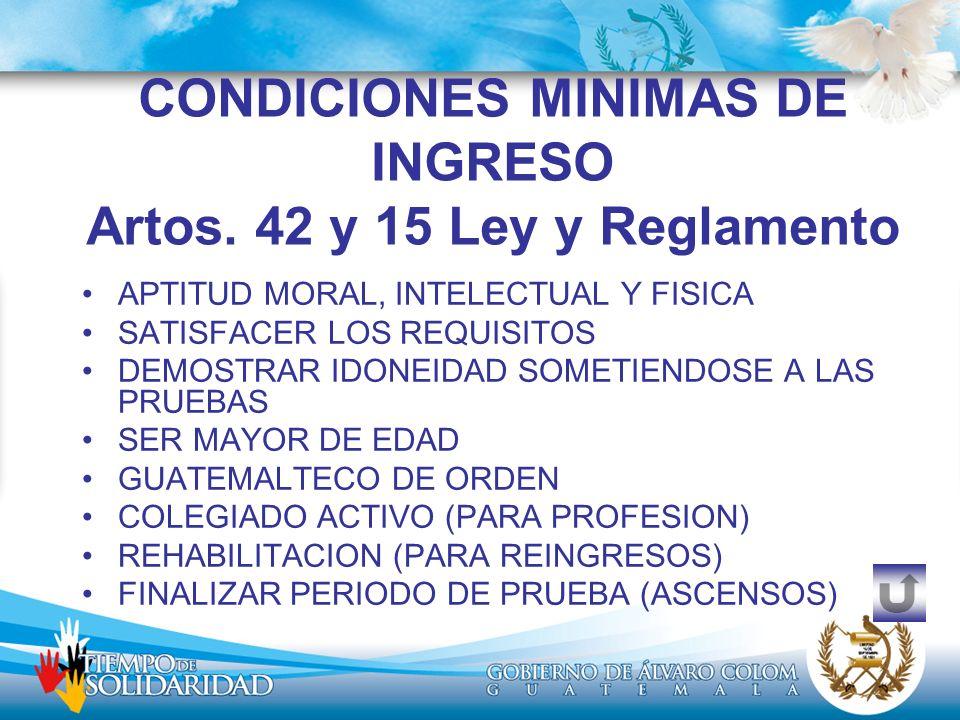 CONDICIONES MINIMAS DE INGRESO Artos. 42 y 15 Ley y Reglamento APTITUD MORAL, INTELECTUAL Y FISICA SATISFACER LOS REQUISITOS DEMOSTRAR IDONEIDAD SOMET