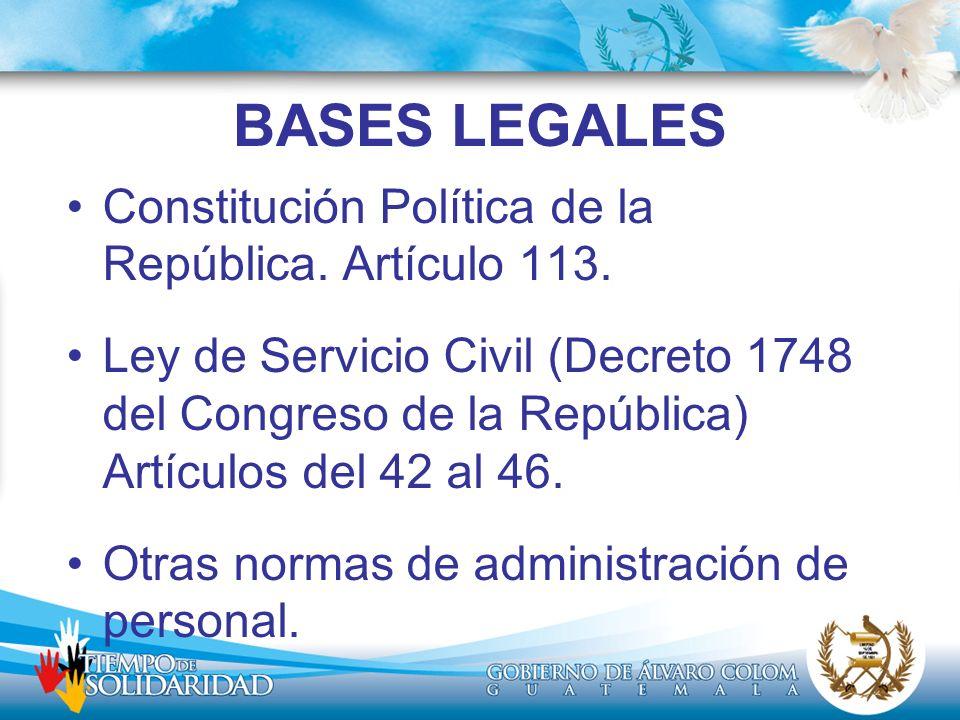 BASES LEGALES Constitución Política de la República. Artículo 113. Ley de Servicio Civil (Decreto 1748 del Congreso de la República) Artículos del 42
