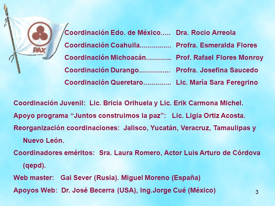 3 Coordinación Edo. de México..... Coordinación Coahuila................ Coordinación Michoacán............. Coordinación Durango................ Coor