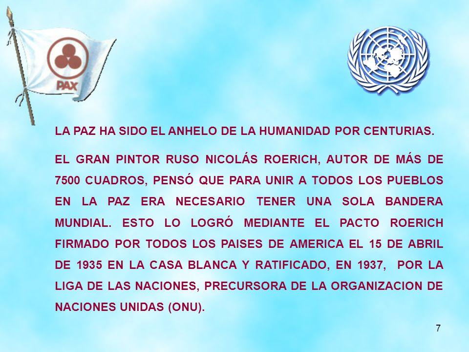 7 LA PAZ HA SIDO EL ANHELO DE LA HUMANIDAD POR CENTURIAS. EL GRAN PINTOR RUSO NICOLÁS ROERICH, AUTOR DE MÁS DE 7500 CUADROS, PENSÓ QUE PARA UNIR A TOD