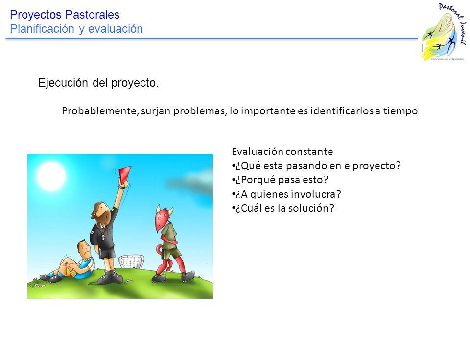 Proyectos Pastorales Planificación y evaluación Ejecución del proyecto. Probablemente, surjan problemas, lo importante es identificarlos a tiempo Eval