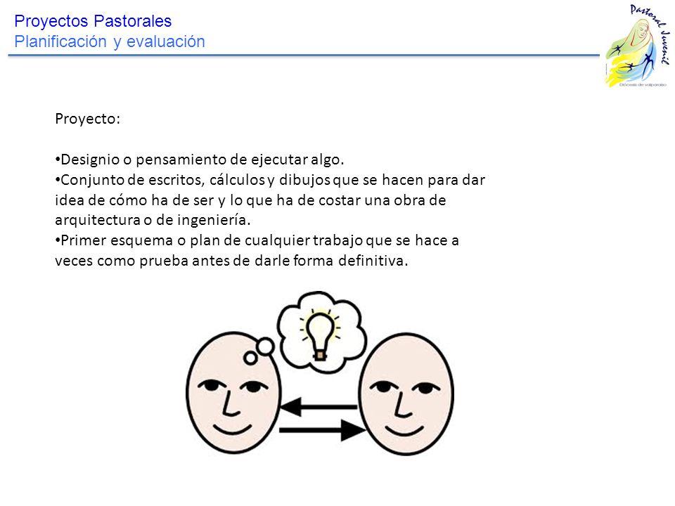 Proyectos Pastorales Planificación y evaluación Proyecto: Designio o pensamiento de ejecutar algo. Conjunto de escritos, cálculos y dibujos que se hac
