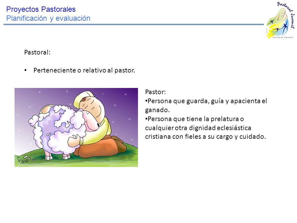 Proyectos Pastorales Planificación y evaluación Pastoral: Perteneciente o relativo al pastor. Pastor: Persona que guarda, guía y apacienta el ganado.