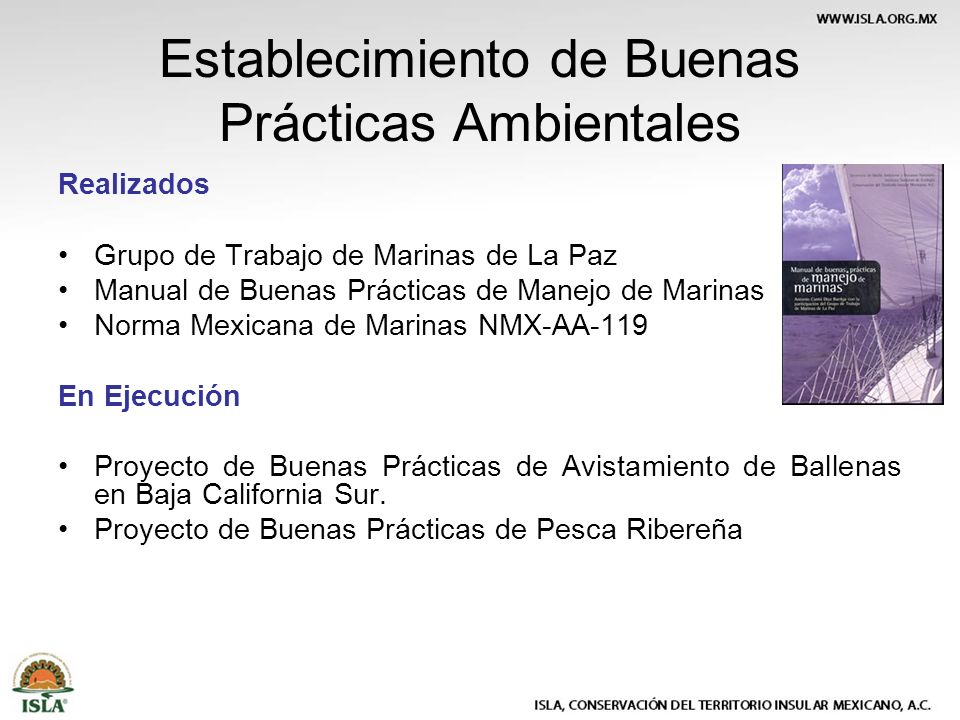 Establecimiento de Buenas Prácticas Ambientales Realizados Grupo de Trabajo de Marinas de La Paz Manual de Buenas Prácticas de Manejo de Marinas Norma Mexicana de Marinas NMX-AA-119 En Ejecución Proyecto de Buenas Prácticas de Avistamiento de Ballenas en Baja California Sur.