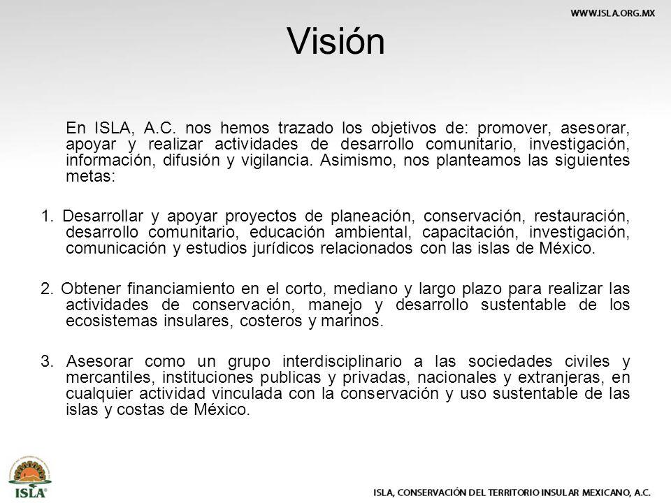 Visión En ISLA, A.C. nos hemos trazado los objetivos de: promover, asesorar, apoyar y realizar actividades de desarrollo comunitario, investigación, i