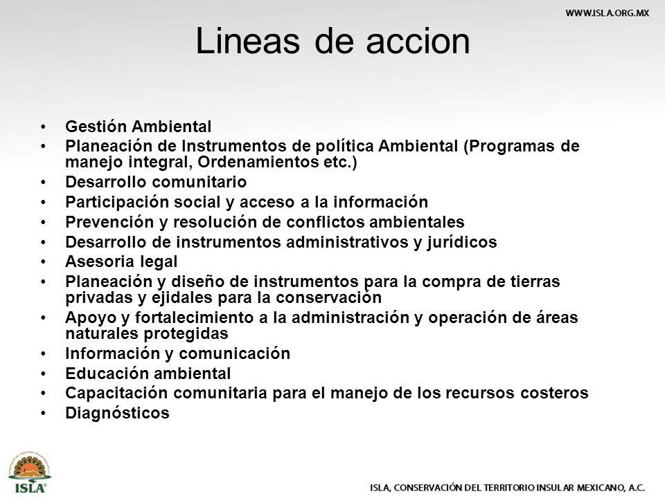 Lineas de accion Gestión Ambiental Planeación de Instrumentos de política Ambiental (Programas de manejo integral, Ordenamientos etc.) Desarrollo comu