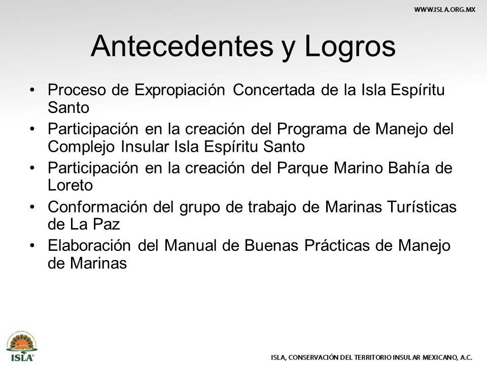 Antecedentes y Logros Proceso de Expropiación Concertada de la Isla Espíritu Santo Participación en la creación del Programa de Manejo del Complejo In
