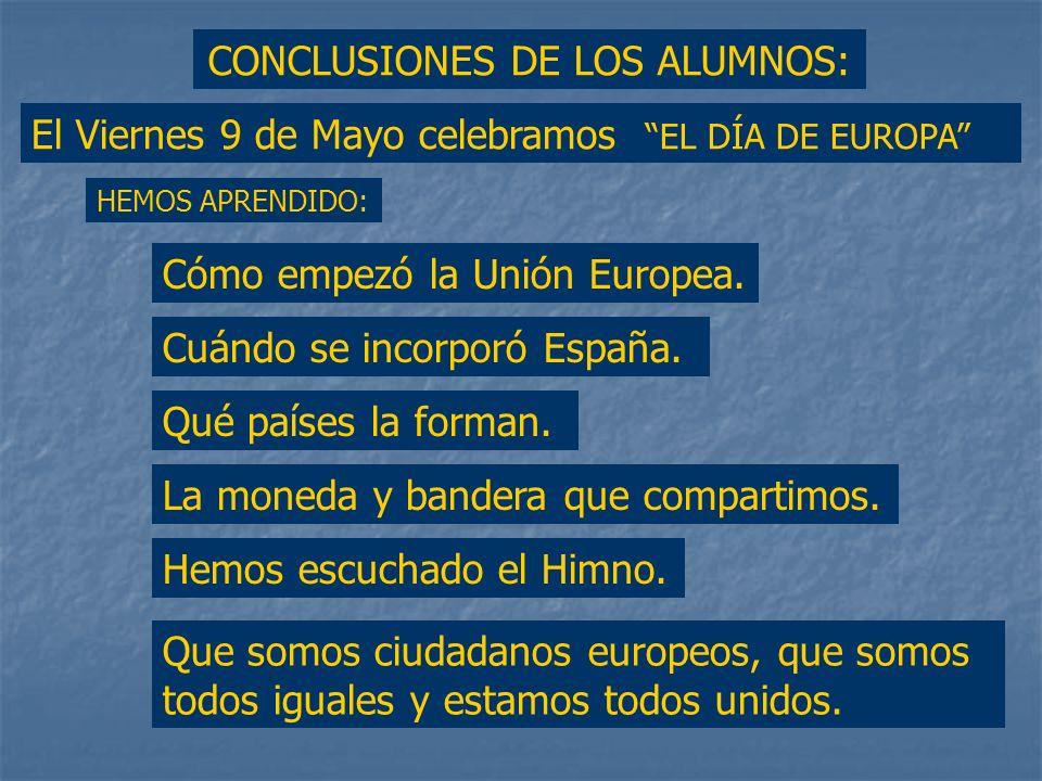 Finalmente, mientras sonaba el Himno de Europa, se repartieron piruletas, globos y banderas. Todos cantamos al compás de la música.