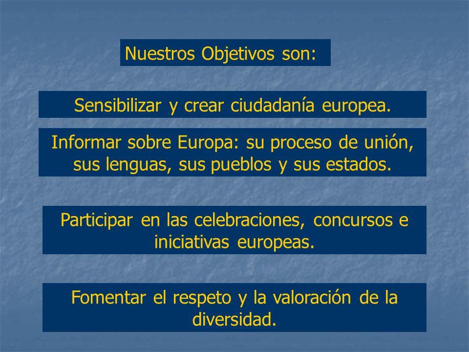 Nuestros Objetivos son: Sensibilizar y crear ciudadanía europea.