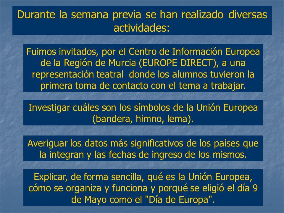 Durante la semana previa se han realizado diversas actividades: Investigar cuáles son los símbolos de la Unión Europea (bandera, himno, lema).