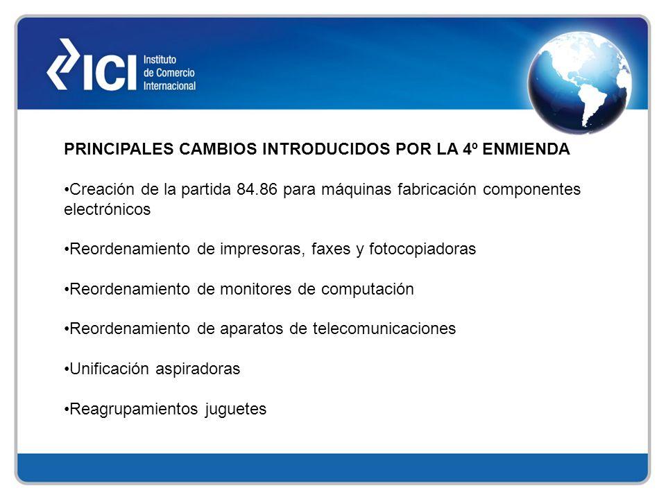 PRINCIPALES CAMBIOS INTRODUCIDOS POR LA 4º ENMIENDA Creación de la partida 84.86 para máquinas fabricación componentes electrónicos Reordenamiento de
