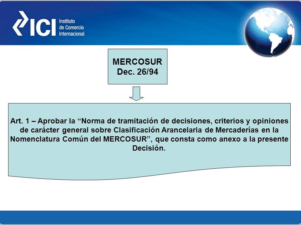 Art. 1 – Aprobar la Norma de tramitación de decisiones, criterios y opiniones de carácter general sobre Clasificación Arancelaria de Mercaderías en la