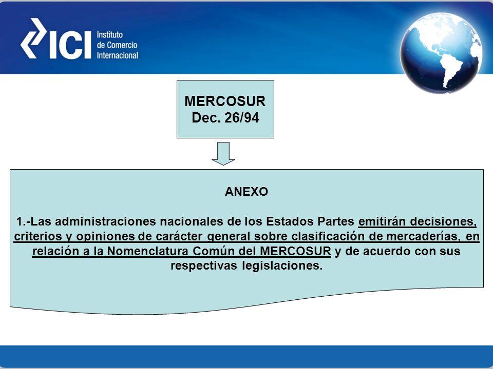 ANEXO 1.-Las administraciones nacionales de los Estados Partes emitirán decisiones, criterios y opiniones de carácter general sobre clasificación de m