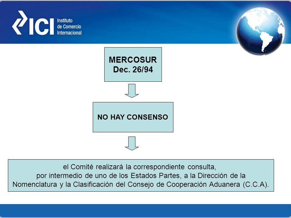 MERCOSUR Dec. 26/94 NO HAY CONSENSO el Comité realizará la correspondiente consulta, por intermedio de uno de los Estados Partes, a la Dirección de la