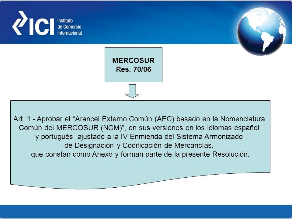 Art. 1 - Aprobar el Arancel Externo Común (AEC) basado en la Nomenclatura Común del MERCOSUR (NCM), en sus versiones en los idiomas español y portugué