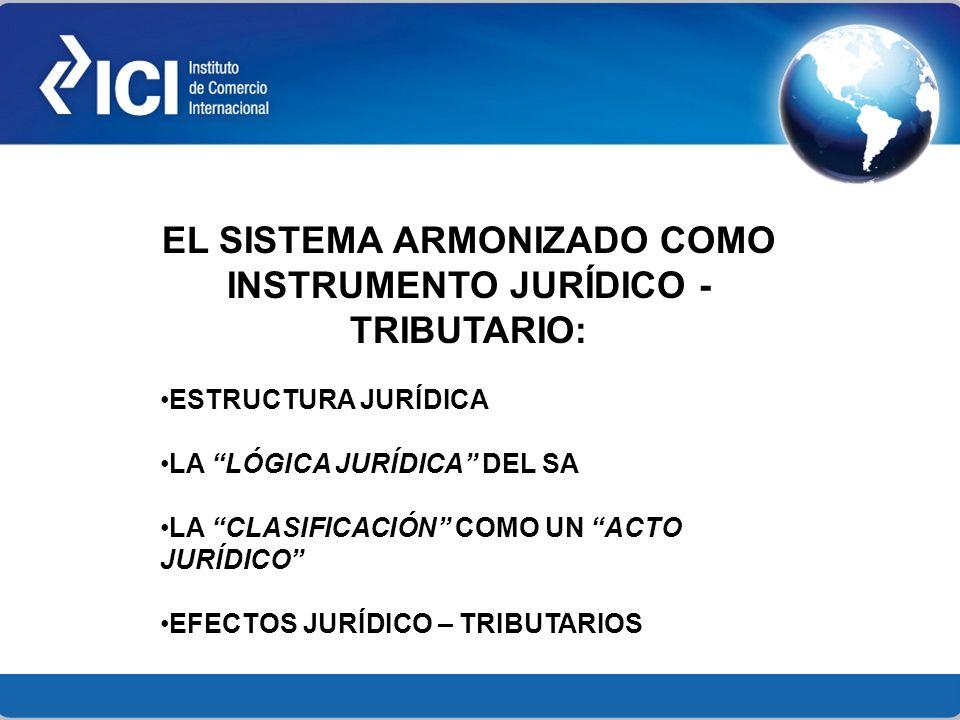 EL SISTEMA ARMONIZADO COMO INSTRUMENTO JURÍDICO - TRIBUTARIO: ESTRUCTURA JURÍDICA LA LÓGICA JURÍDICA DEL SA LA CLASIFICACIÓN COMO UN ACTO JURÍDICO EFE