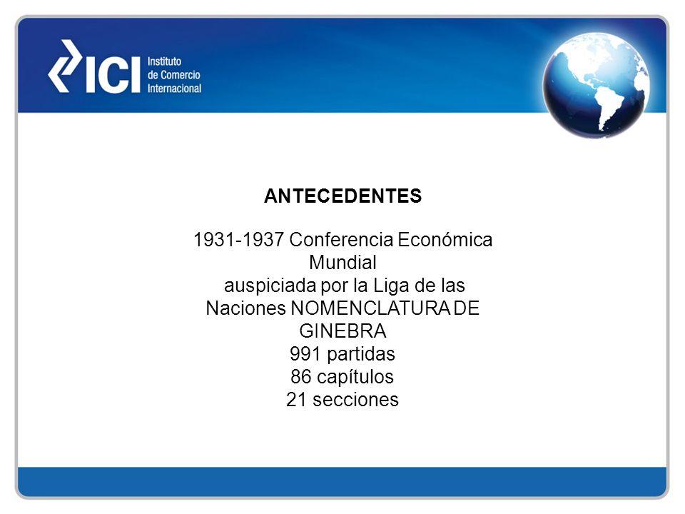 ANTECEDENTES 1931-1937 Conferencia Económica Mundial auspiciada por la Liga de las Naciones NOMENCLATURA DE GINEBRA 991 partidas 86 capítulos 21 secci