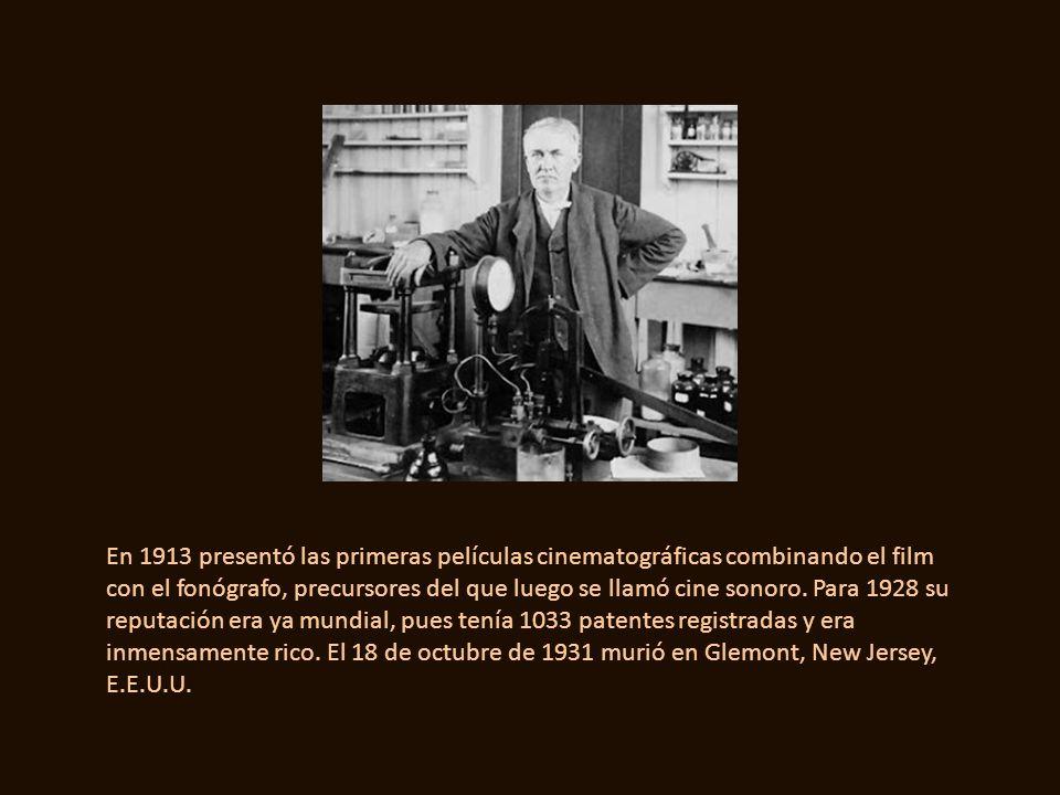 Más tarde inventó y perfeccionó el foco para producir la luz de incandescencia. En 1885 registró una patente de transmisión sin hilos de larga distanc