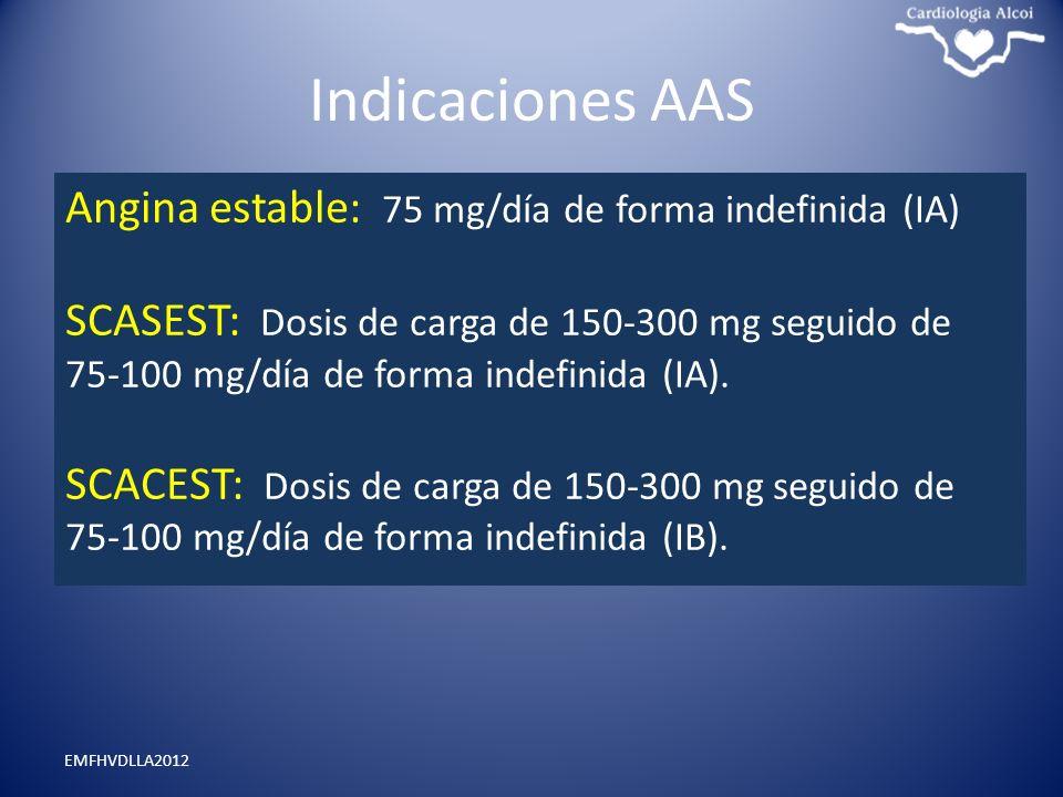 Indicaciones AAS EMFHVDLLA2012 Angina estable: 75 mg/día de forma indefinida (IA) SCASEST: Dosis de carga de 150-300 mg seguido de 75-100 mg/día de fo