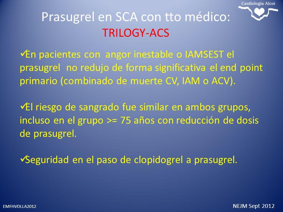 Prasugrel en SCA con tto médico: TRILOGY-ACS EMFHVDLLA2012 NEJM Sept 2012 En pacientes con angor inestable o IAMSEST el prasugrel no redujo de forma s