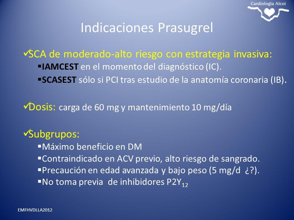 Indicaciones Prasugrel EMFHVDLLA2012 SCA de moderado-alto riesgo con estrategia invasiva: IAMCEST en el momento del diagnóstico (IC). SCASEST sólo si