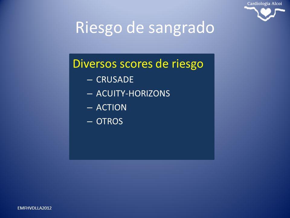 Riesgo de sangrado Diversos scores de riesgo – CRUSADE – ACUITY-HORIZONS – ACTION – OTROS EMFHVDLLA2012
