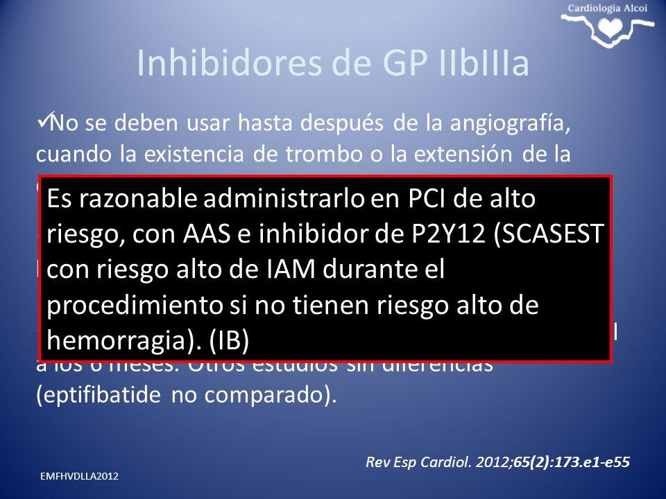 Inhibidores de GP IIbIIIa EMFHVDLLA2012 No se deben usar hasta después de la angiografía, cuando la existencia de trombo o la extensión de la enfermed