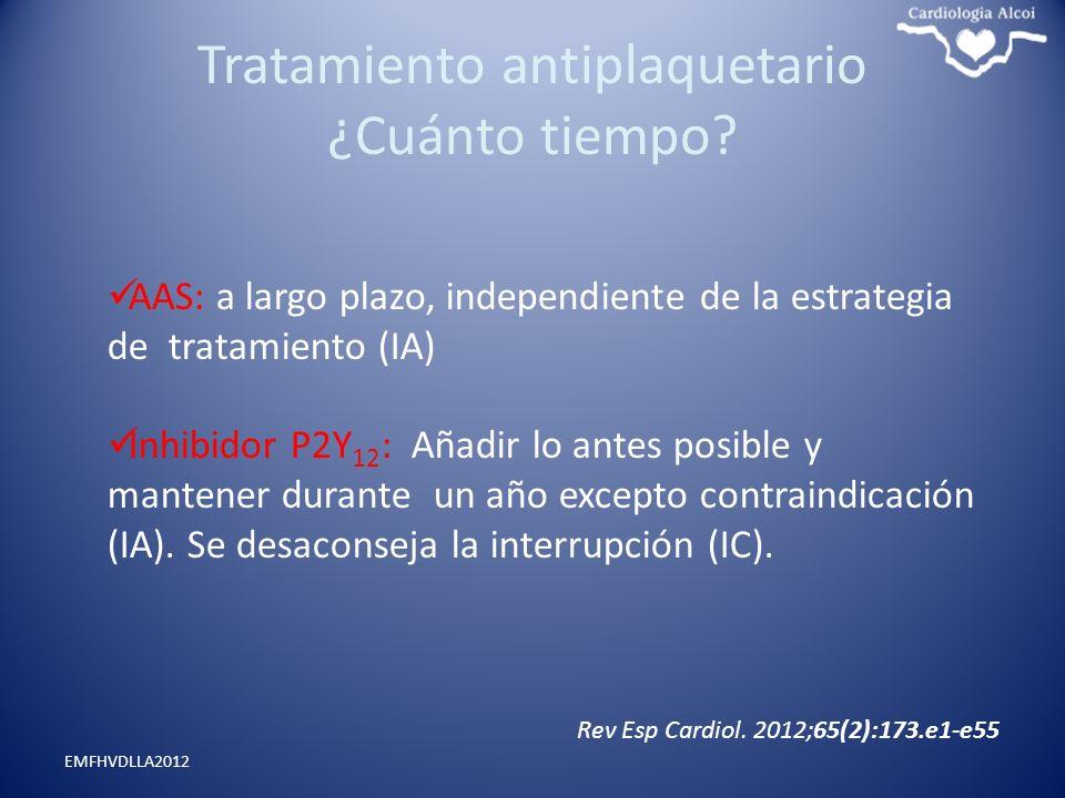 Tratamiento antiplaquetario ¿Cuánto tiempo? EMFHVDLLA2012 AAS: a largo plazo, independiente de la estrategia de tratamiento (IA) Inhibidor P2Y 12 : Añ