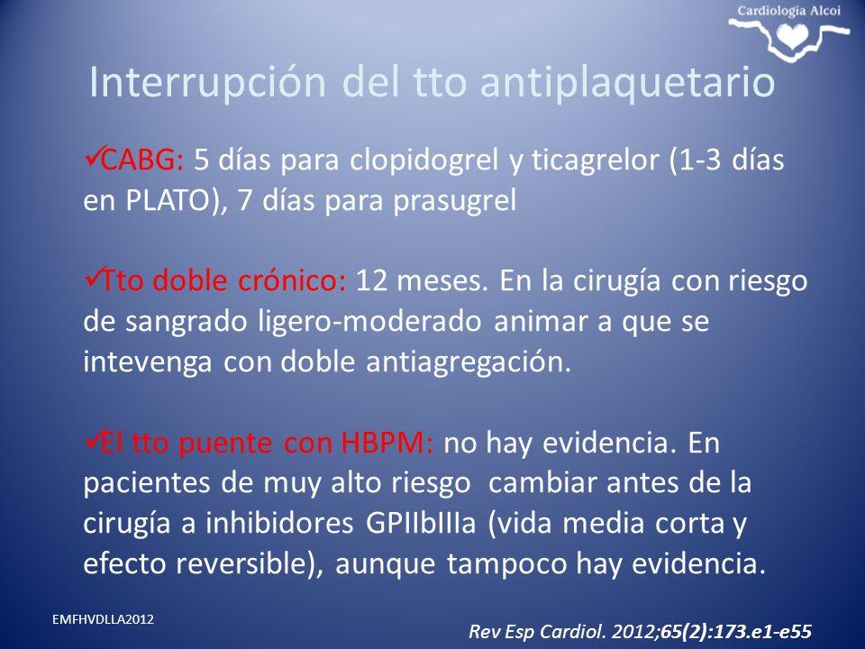 Interrupción del tto antiplaquetario EMFHVDLLA2012 CABG: 5 días para clopidogrel y ticagrelor (1-3 días en PLATO), 7 días para prasugrel Tto doble cró