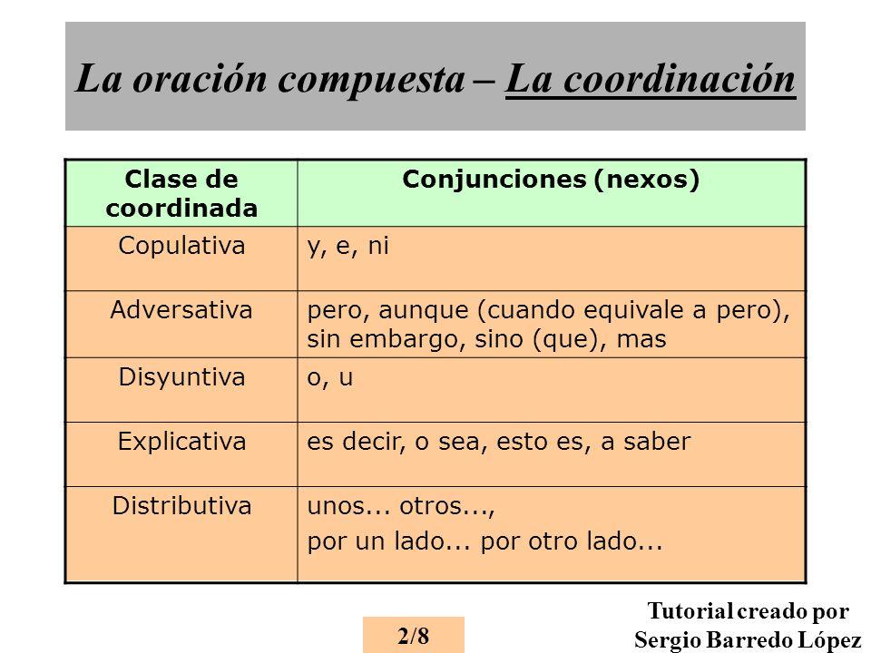 La oración compuesta – La coordinación 2/8 Tutorial creado por Sergio Barredo López Clase de coordinada Conjunciones (nexos) Copulativay, e, ni Adversativapero, aunque (cuando equivale a pero), sin embargo, sino (que), mas Disyuntivao, u Explicativaes decir, o sea, esto es, a saber Distributivaunos...