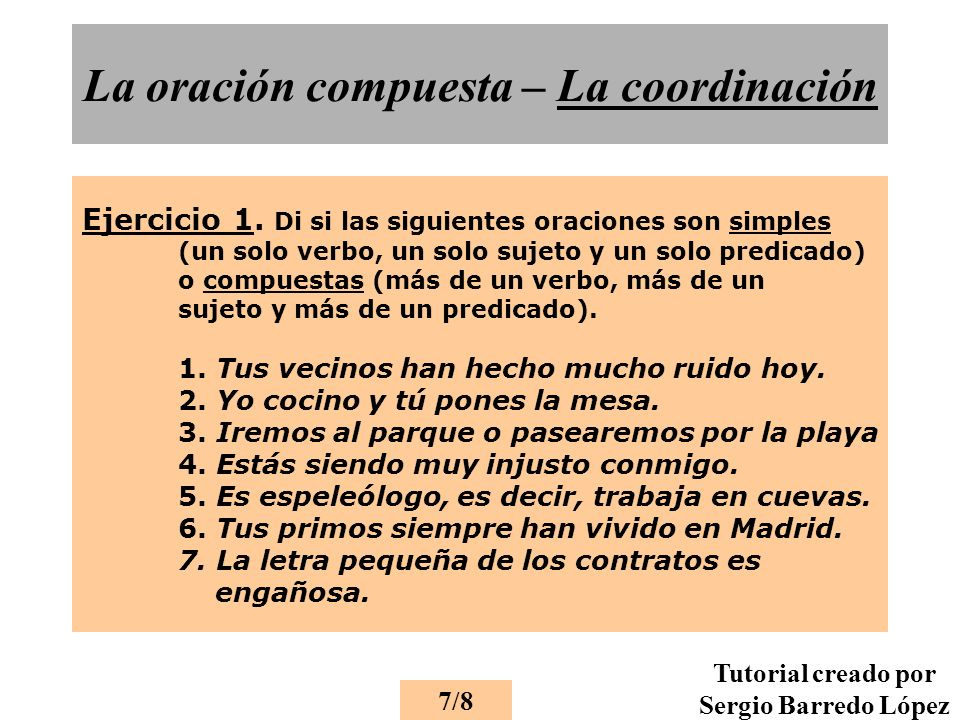 La oración compuesta – La coordinación Ejercicio 1.