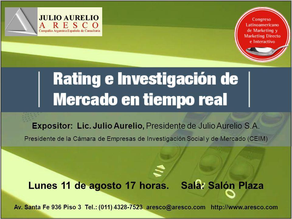 Expositor: Lic. Julio Aurelio, Presidente de Julio Aurelio S.A. Presidente de la Cámara de Empresas de Investigación Social y de Mercado (CEIM) Lunes