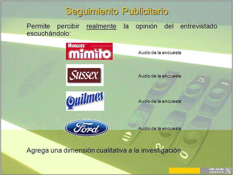 Julio Aurelio A R E S C O Seguimiento Publicitario Permite percibir realmente la opinión del entrevistado escuchándolo: Agrega una dimensión cualitati