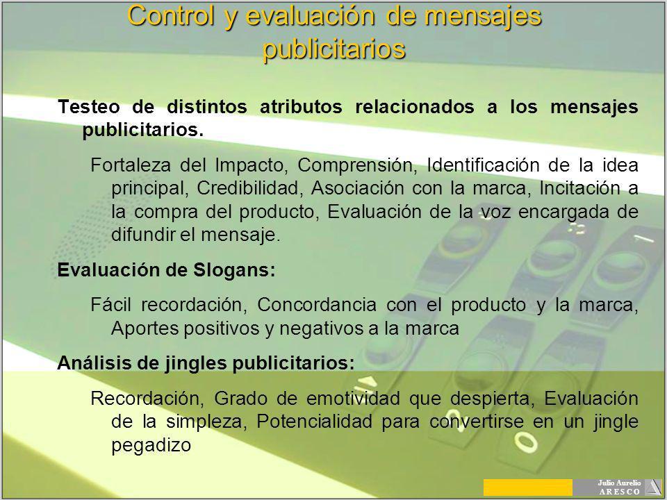 Julio Aurelio A R E S C O Control y evaluación de mensajes publicitarios Testeo de distintos atributos relacionados a los mensajes publicitarios. Fort