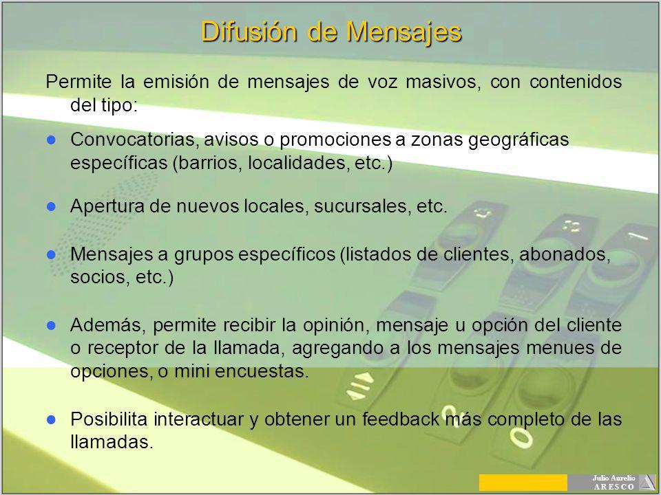 Julio Aurelio A R E S C O Difusión de Mensajes Permite la emisión de mensajes de voz masivos, con contenidos del tipo: Convocatorias, avisos o promoci