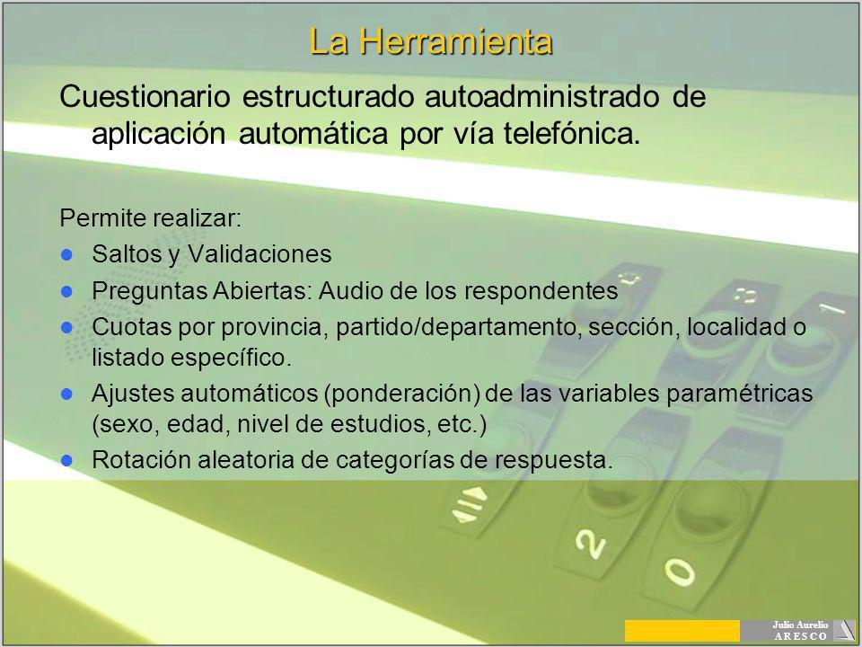 Julio Aurelio A R E S C O La Herramienta Cuestionario estructurado autoadministrado de aplicación automática por vía telefónica. Permite realizar: Sal