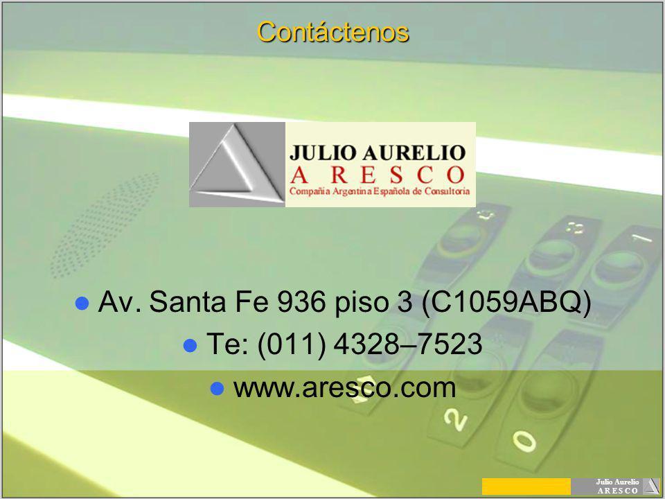 Julio Aurelio A R E S C OContáctenos Av. Santa Fe 936 piso 3 (C1059ABQ) Te: (011) 4328–7523 www.aresco.com