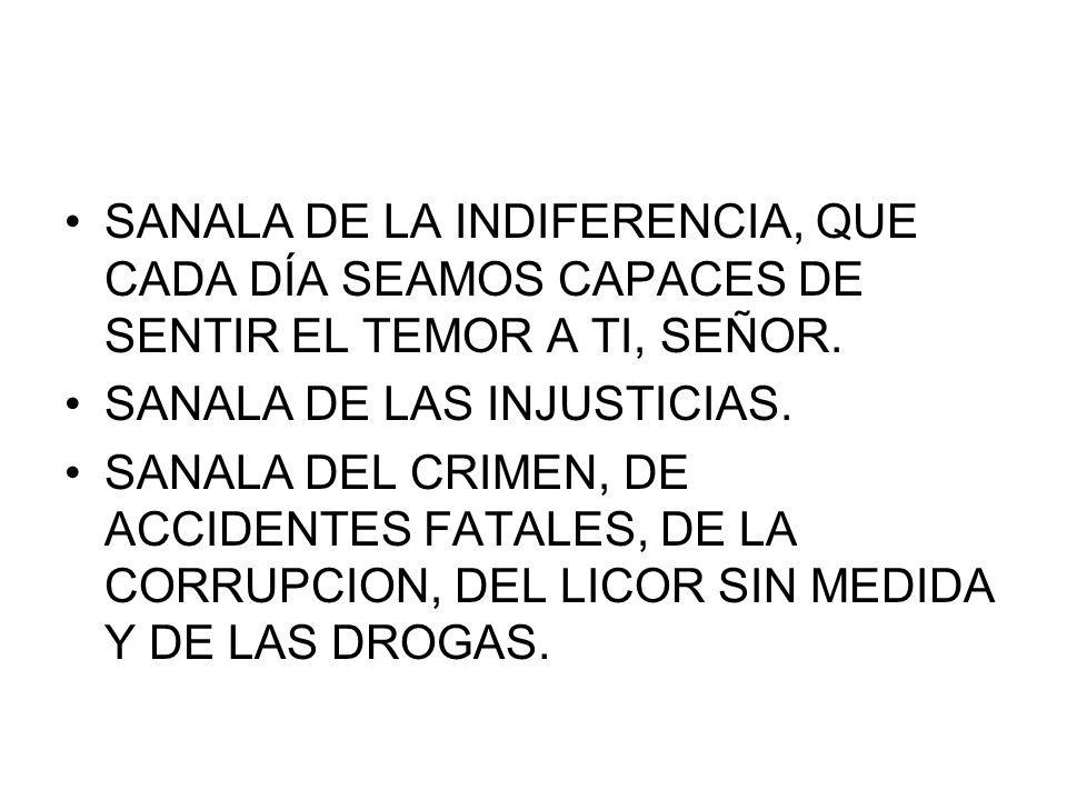 SANALA DE LA INDIFERENCIA, QUE CADA DÍA SEAMOS CAPACES DE SENTIR EL TEMOR A TI, SEÑOR. SANALA DE LAS INJUSTICIAS. SANALA DEL CRIMEN, DE ACCIDENTES FAT