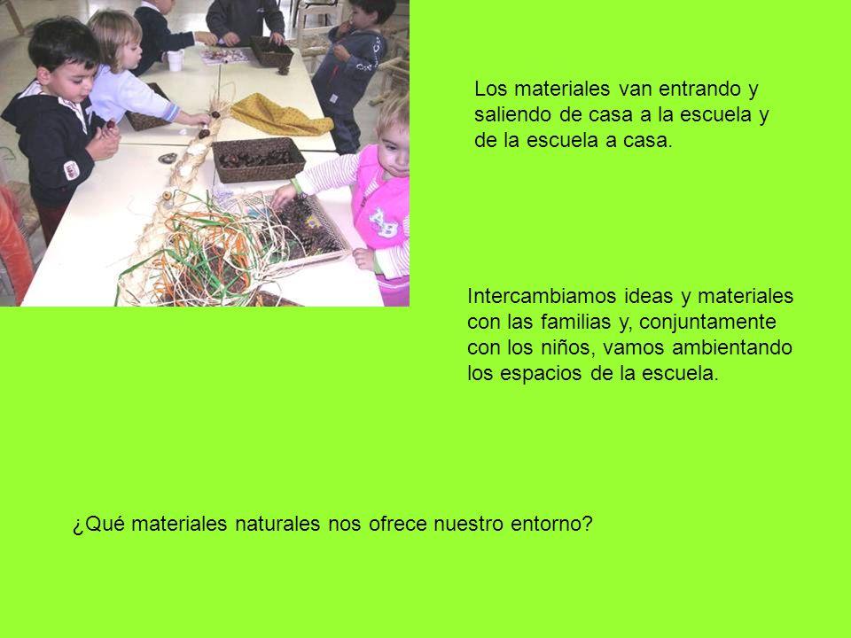 Los materiales van entrando y saliendo de casa a la escuela y de la escuela a casa. Intercambiamos ideas y materiales con las familias y, conjuntament
