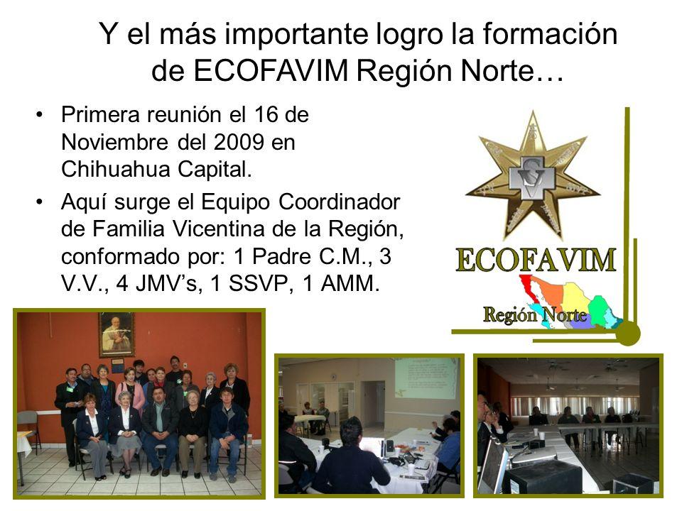 Y el más importante logro la formación de ECOFAVIM Región Norte… Primera reunión el 16 de Noviembre del 2009 en Chihuahua Capital. Aquí surge el Equip