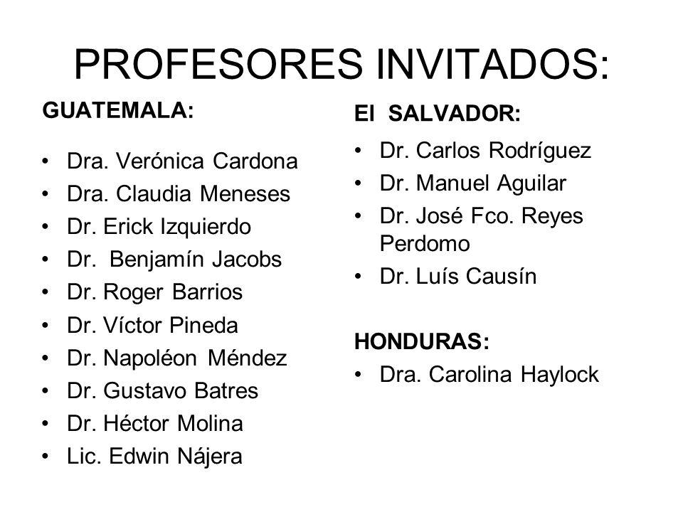 PROFESORES INVITADOS: GUATEMALA: Dra.Verónica Cardona Dra.