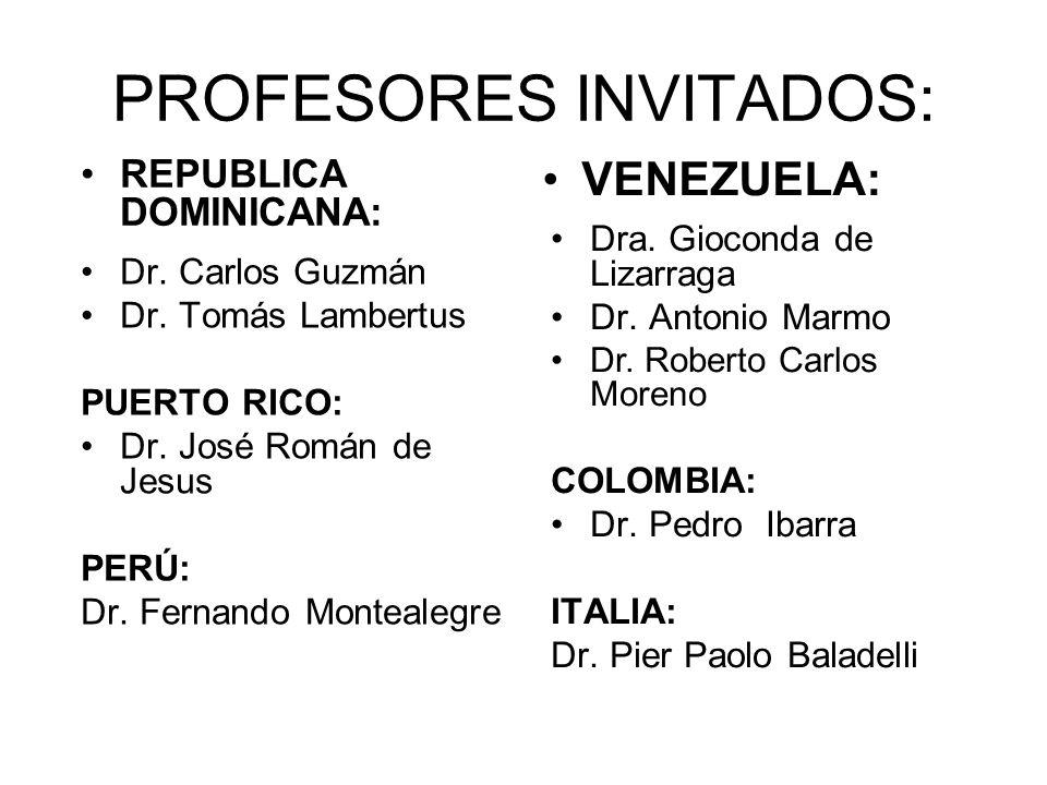 PROFESORES INVITADOS: REPUBLICA DOMINICANA: VENEZUELA: Dr.