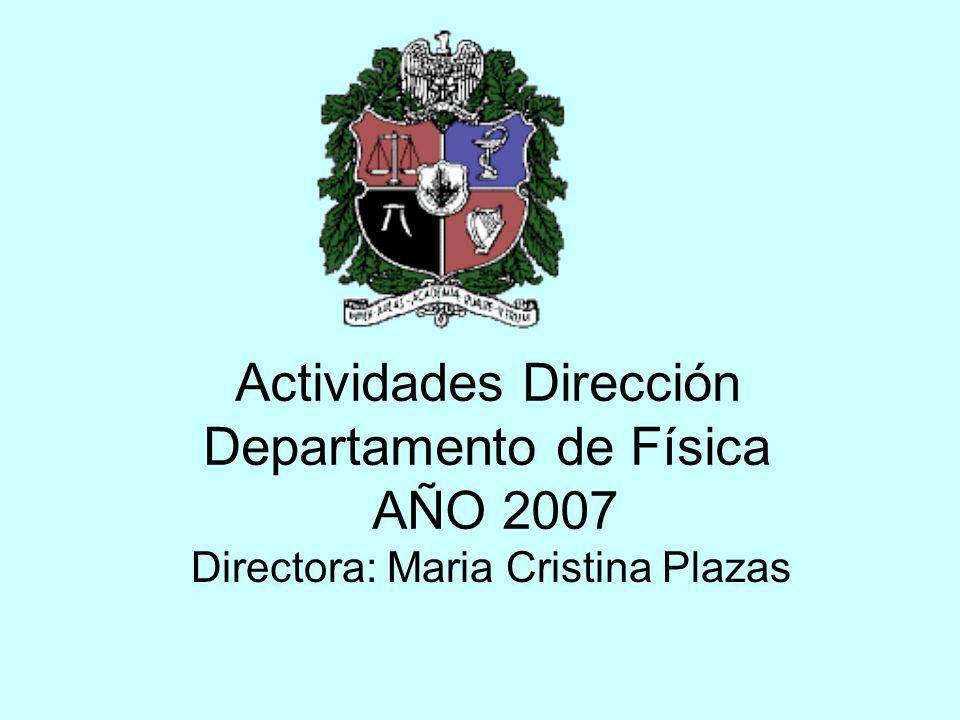 Actividades Dirección Departamento de Física AÑO 2007 Directora: Maria Cristina Plazas